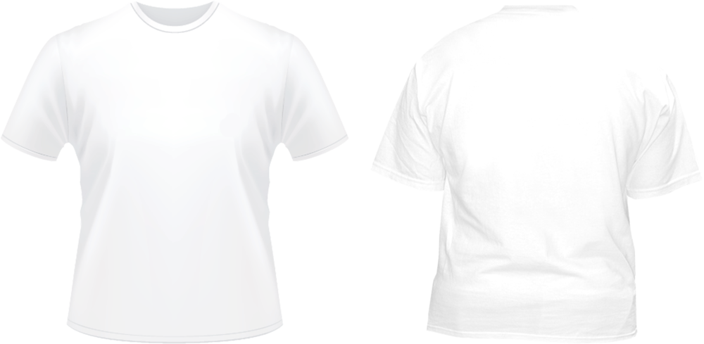 White t shirt front and back png