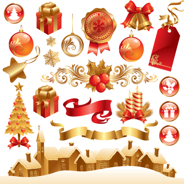Gold Christmas Elements PSD